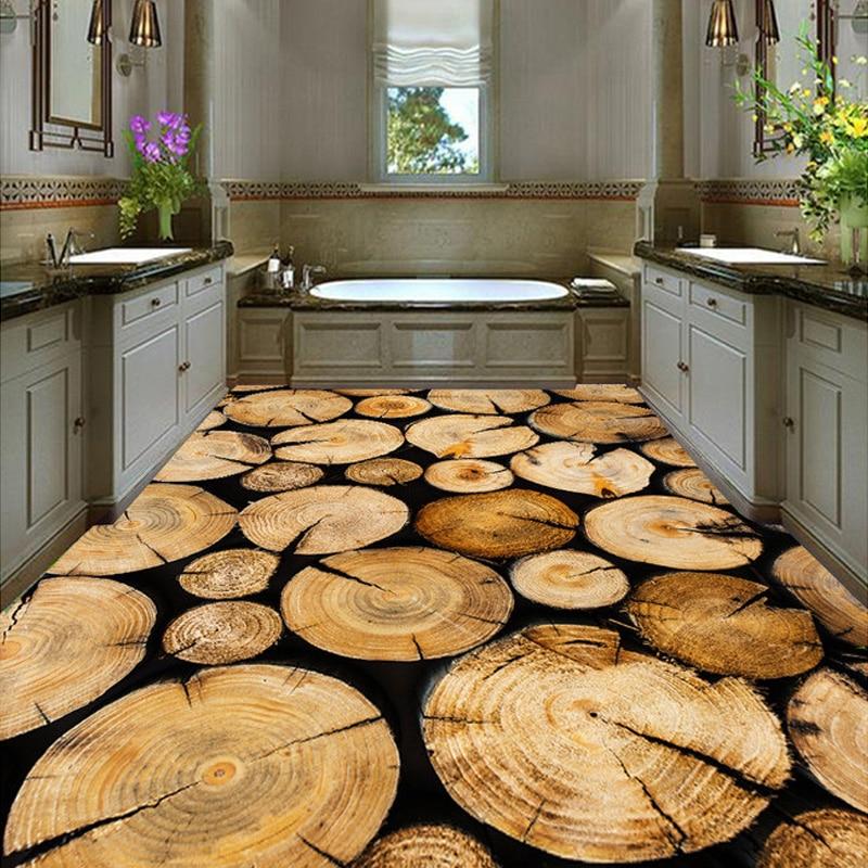 Custom Wall Mural Wallpaper Roll Tree Ring Wood Grain Living Room Kitchen  Floor PVC Self Adhesive Wallpaper Papel De Parede 3D