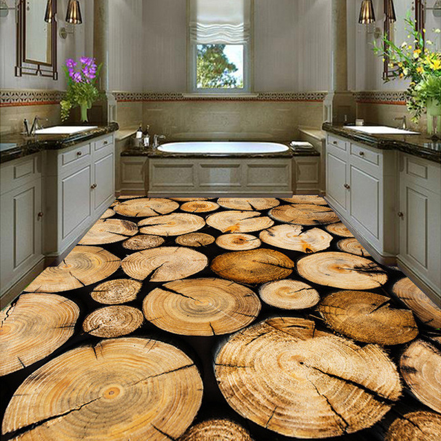 Custom Wall Mural Wallpaper Roll Tree Ring Wood Grain Living Room Kitchen Floor PVC Self