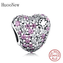 цены 2019 Summer 925 Sterling Silver Heart Beads Pave MiX CZ Heart Charm Fit Original Pandora Charms Bracelet For Woman DIY Jewelrly