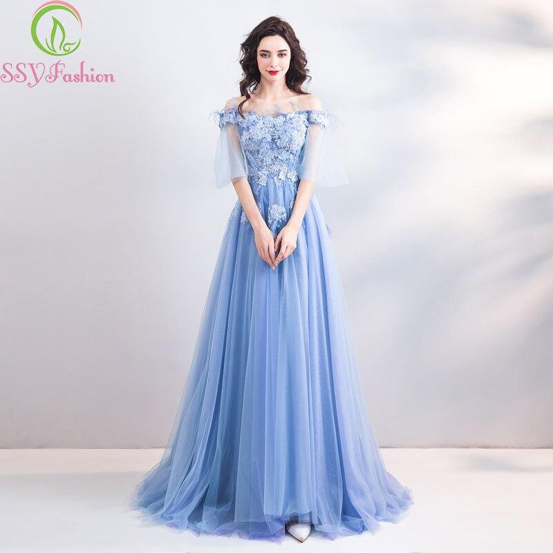 SSYFashion 2019 New Lace   Evening     Dress   Banquet Elegant Blue Boat Neck Appliques Floor-length Party Formal Gowns Robe De Soiree