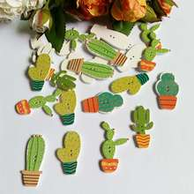 50Pcs Wooden Buttons Mixed Potted cactus 2 Holes decorativos Buttons Scrapbook Sewing Accessories Buttons Needlework botoes