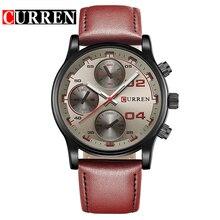 CURREN Men Watch Marca de Luxo de Quartzo Analógico Couro Menstwatches-Relógio do Esporte Ocasional Relógio Masculino Relogio masculino 8207