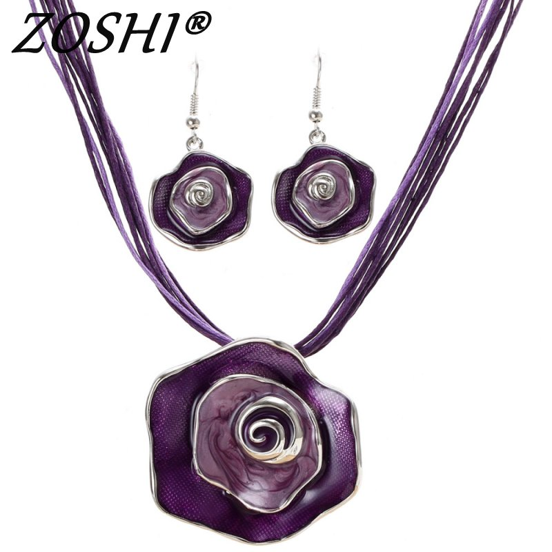 ZOSHI Fashion African Jewelry Set 2017 Colorful Enamel Flower Jewelry Sets for Party Rope Bridal Jewelry Sets Summer Jewelry