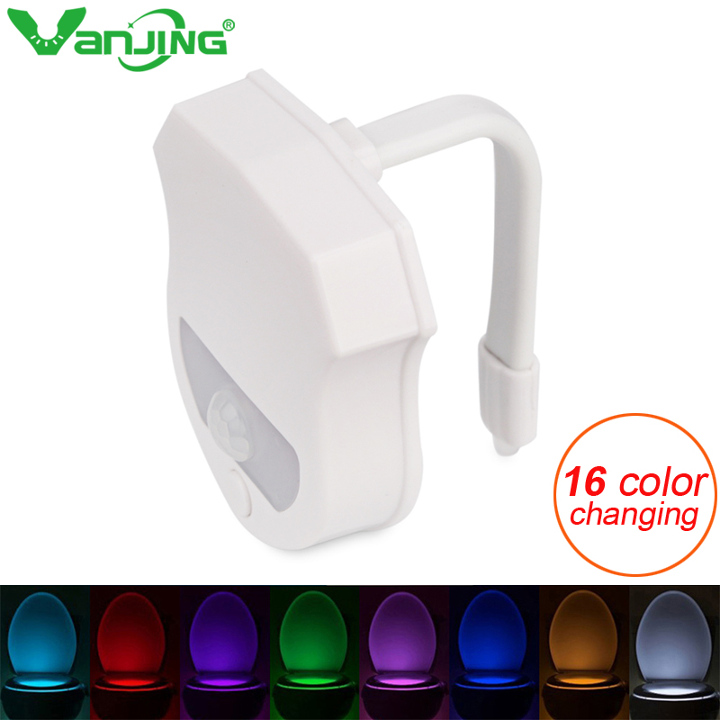 16 Colors Sensor LED Toilet Night Light Body Motion Activated Backlight LED Lamp Bathroom Toilet Light купить дешево онлайн