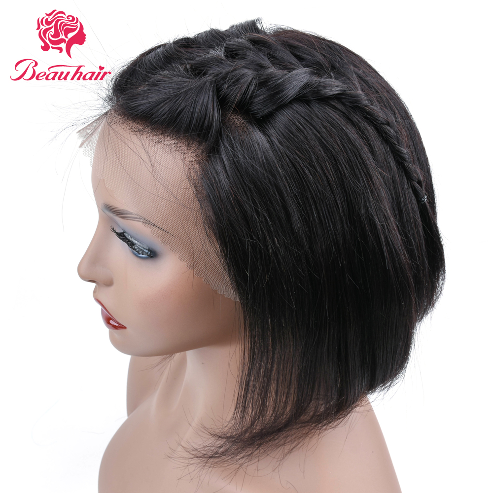 Beau Hair Lace Frontal Human Hair Wigs 13*4 Short Bob Wig Middle Part Brazilian Wig Non Remy Natural Color Straight Hair