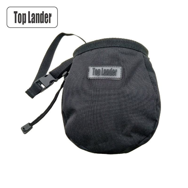 Rock Climbing Chalk Bag with Belt and Zipper Pocket for Fitness GYM Weight Lifting Hunting Bouldering Magnesia Sack Black Color