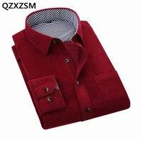 QZXZSM 2017 Pana ropa Camisas de Los Hombres de color puro ocio de los hombres Británicos de La Vendimia de Manga Larga camisa de los hombres para el Otoño Invierno
