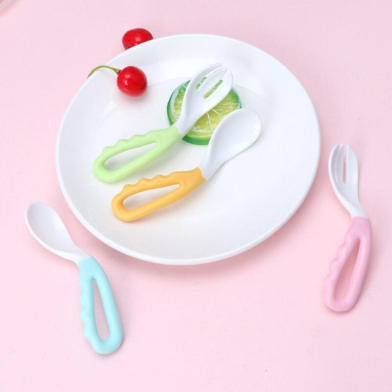 2 шт гибкий детский набор ложка и вилка регулируемая детская обучающая посуда