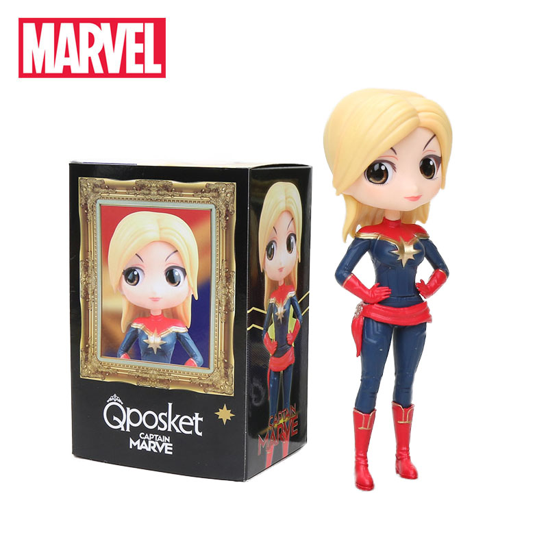 10-14cm Marvel Avengers Endgame Toys Captain Marvel Vinyl Doll Black Widow Action Figure Q Posket Collectible Model Party Favor(China)