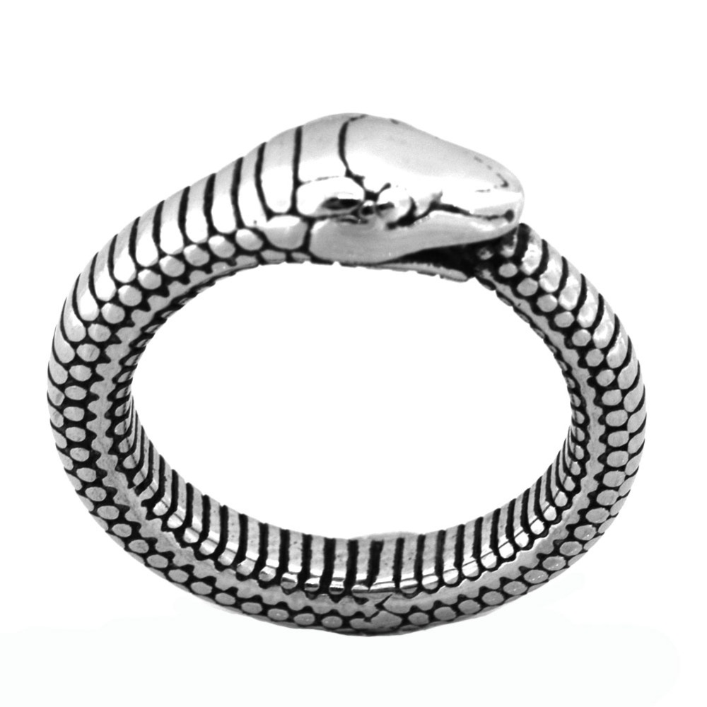 Fanssteel Stainless steel Jewelry snake animal ring FSR20W18 stainless steel chinese zodiac keychain snake