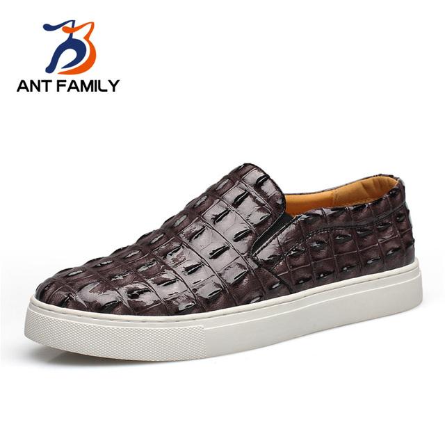 Gran Tamaño EU38-47 Slip On Zapatos de Los Planos Mocasines Moda Masculina marca Cocodrilo Del Dedo Del Pie Redondo Casual Zapatos de Los Hombres 2016 zapatos que Caminan de Conducción zapatos
