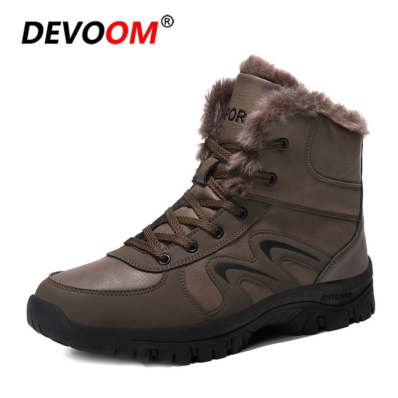 Men Winter Mountain Sport Climbing Shoe Snow Hiking Boots Man Cotton Inside Antiskid Bottom Keep Warm Waterproof Ski Boots Fur