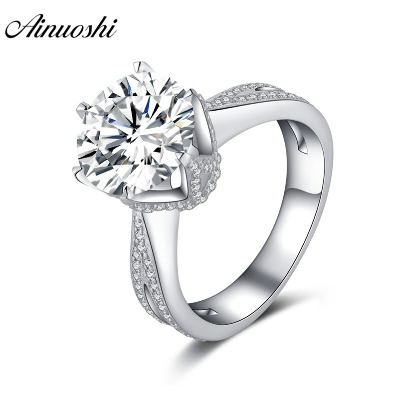 AINOUSHI Princess 925 Sterling Silver Solitaire Ring Engagement Wedding 3.5 Carats Round Halo Rings anillos plata 925 para mujerAINOUSHI Princess 925 Sterling Silver Solitaire Ring Engagement Wedding 3.5 Carats Round Halo Rings anillos plata 925 para mujer
