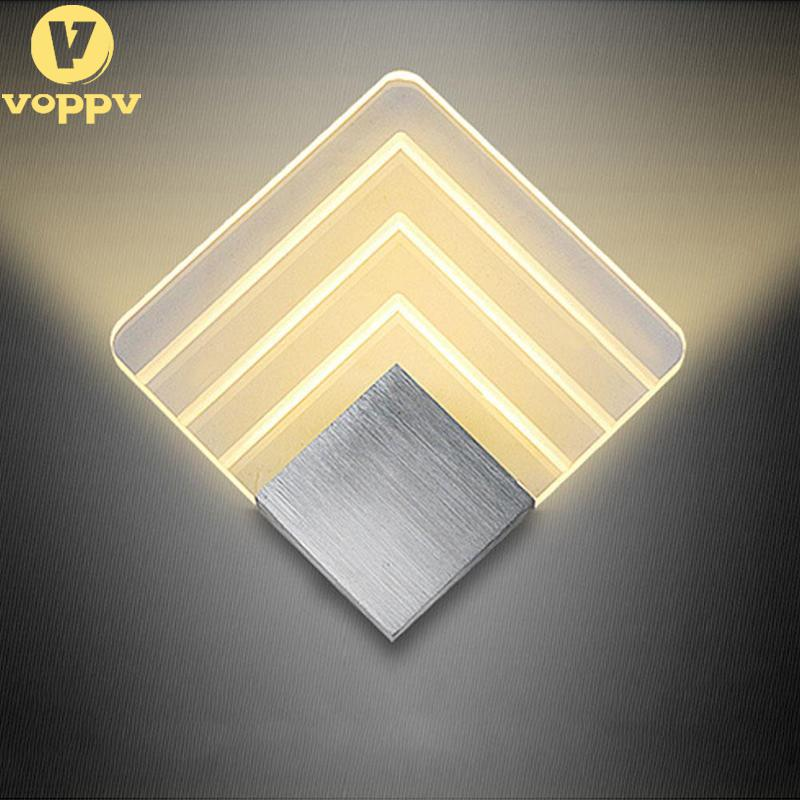 VOPPV Modern Wall Light Acrylic Sconce Lamp 5W Warm White Wall Mounted decoration Lighting Fixture for Home Hotel Bedroom EOP979