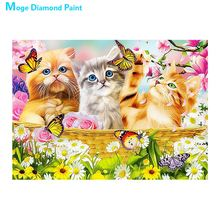 Lovely cat Diamond Painting Full Round animal cartoon Children New DIY Sticking Drill Cross Embroidery 5D simple Home Decoration dog and cat diamond painting full round animals new diy sticking drill cross embroidery 5d cartoon simple home decoration