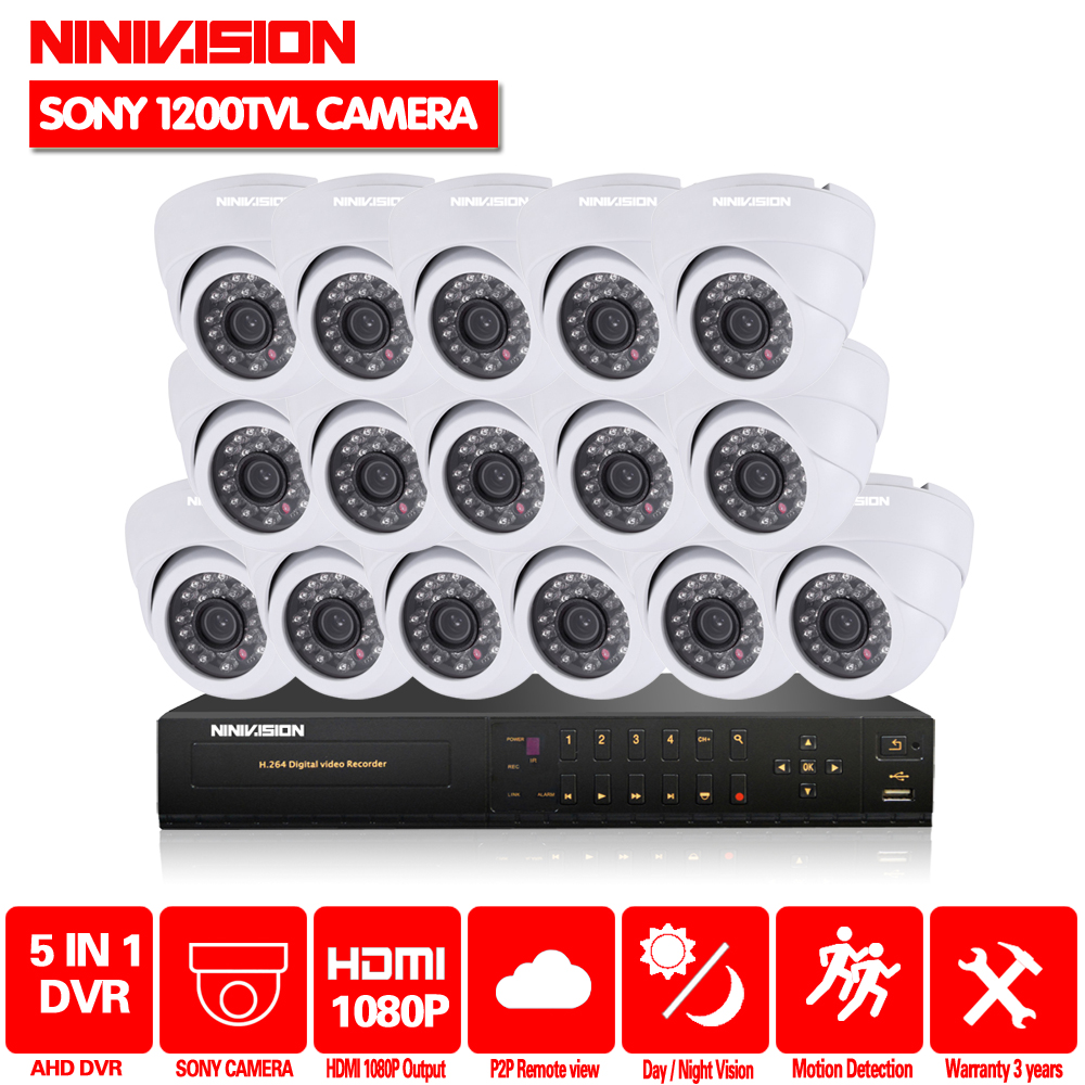 "HD Video Surveillance System 16 channel CCTV AHD 1080P DVR 1/3""CCD Sony 1200tvl Day Night Security Camera dvr kit 1080p HDMI"