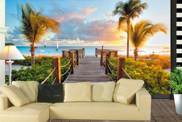 Encargo del papel pintado del paisaje sunset beach for Papel pintado paisajes