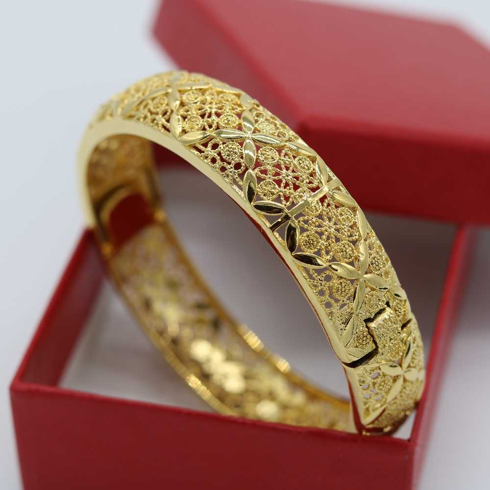 Womens Bangle Dày Bracelet Yellow Gold Filled Hollow Tinh Tế Bangle Gift
