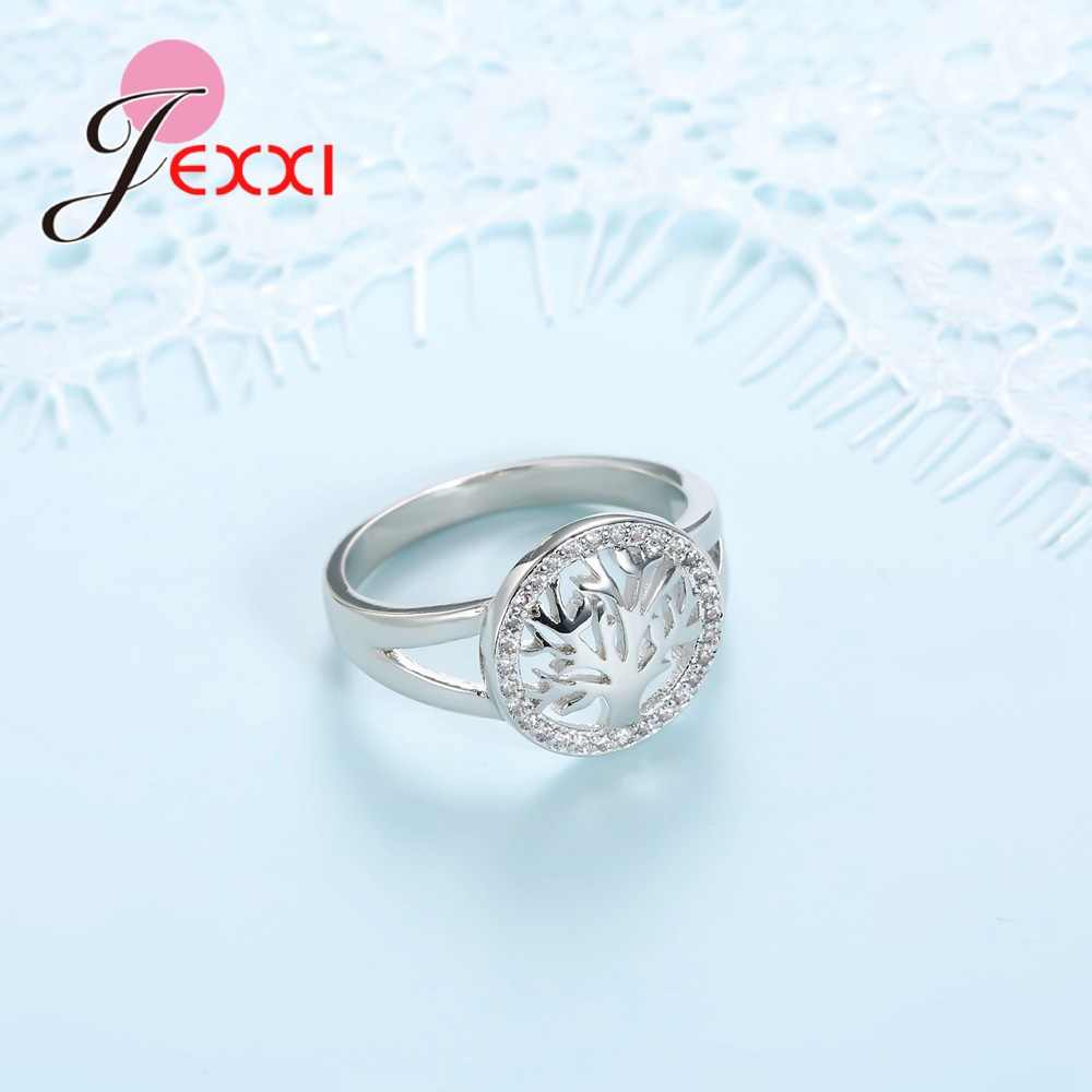 Tree Shape 925 Sterling Silver Rings For Women Cubic Zirconia  Wedding Ring For Girl New Desigh Tree Accessory