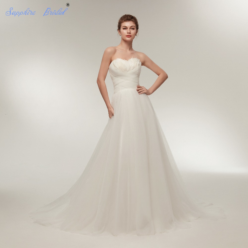 Sapphire Bridal Simple Bridal Gowns White Ivory Strapless