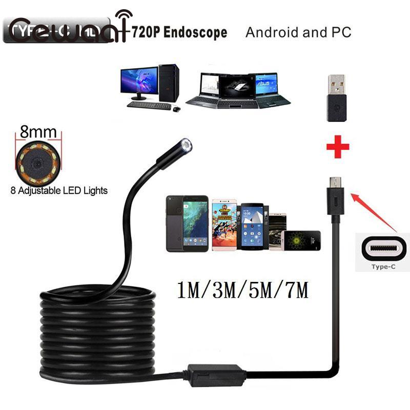 CEWAAL 8mm 2MP 8LED 5M Android Phone USB Type C Endoscope Camera Waterproof Video Camera Inspection Camera Borescope for Huawei endoscope portable 5 5mm 5m android phone usb type c usb c endoscope waterproof borescope inspection video camera