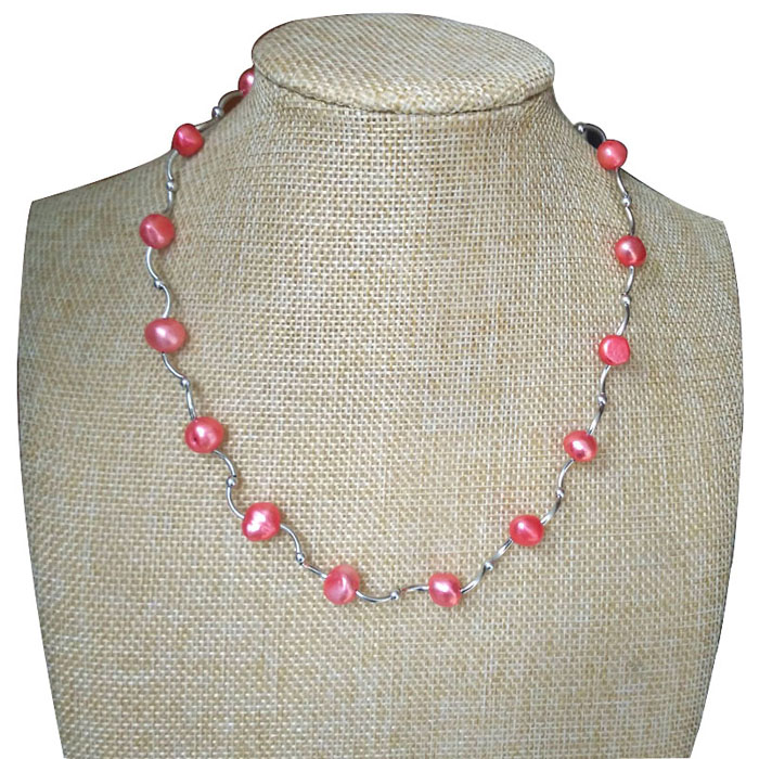 17 inches 8-9mm Pink Natural Real Baroque Pearl Link Tin Cup Chocker Necklace