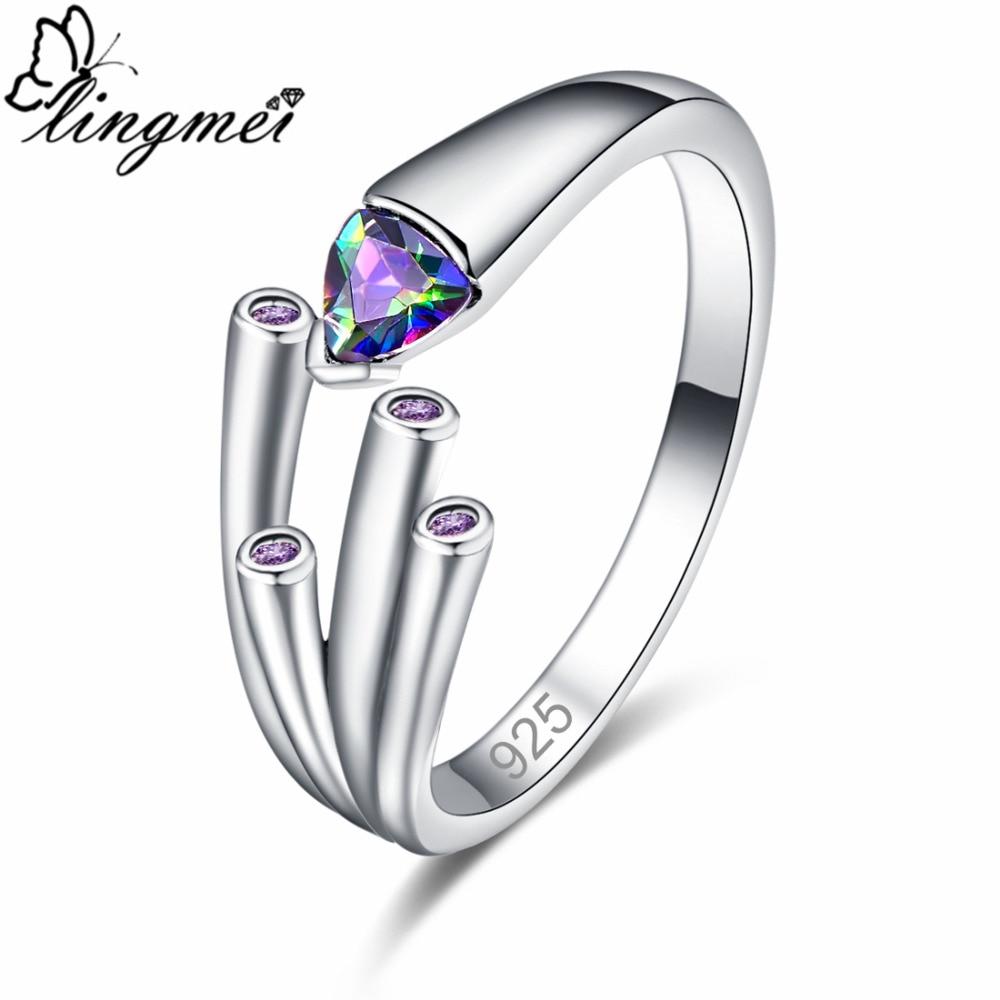 Lingmei חדש ססגוניות מעודן סגול & שחור מעוקב Zirconia כסף צבע טבעת גודל 6 7 8 9 ווג פשוט ייחודי נשים תכשיטים