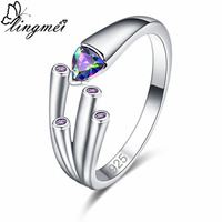 lingmei New Exquisite Multicolor Purple & Black Cubic Zirconia Silver Color Ring Size 6 7 8 9 Vogue Simple Unique Women Jewelry
