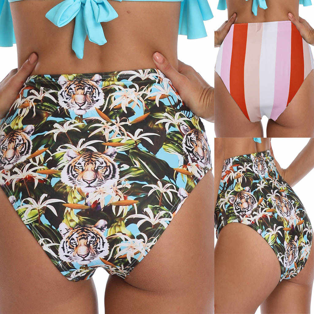d8805b14f1 Ladies Sexy Fashion Tiger Head Print Striped High Waist Swim Trunks Summer  Floral High Waist Panties