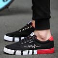 2017 NEW Fashion Men Casual Shoes Cheap Walking Print  Flats Shoes Breathable Korean Student Fashion Canvas Shoes Black