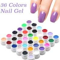 36 Kutuları Tırnak Boyama Lehçe Saf Renkler UV Jel Parlak uzatma Uzun Ömürlü Nail Art İpuçları Tutkal Vernik Katı Renk Tırnak jel