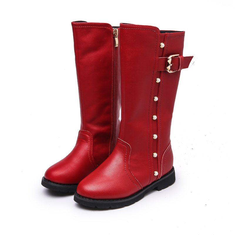 Winter Children's Low-heeled Boots For Girls Winter Shoes Kids Snow Boots Fashion Rain High Knee Length Bow Boots Free shipping