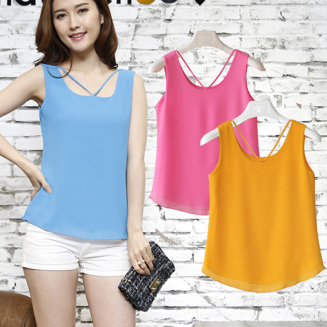 6026d6e57a7 Fashion Brand Women Tanks Top Summer Sexy Shirt Camis Plus Size Sleeveless  Blouse Double Layer Chiffon Blouses