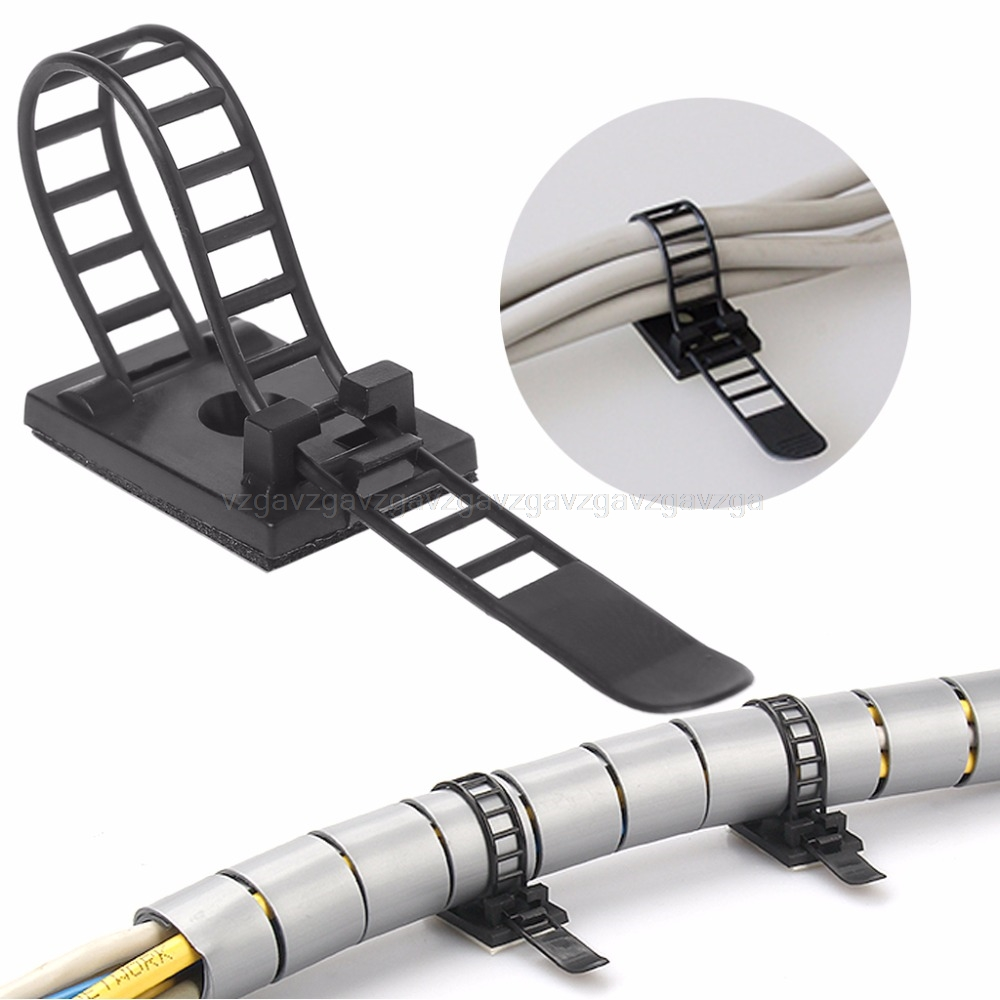 100 шт. регулируемые зажимы для кабелей самоклеющийся шнур фиксатор провода зажимной ремень держатель JUN20 Прямая поставка|Кабельные зажимы|   | АлиЭкспресс