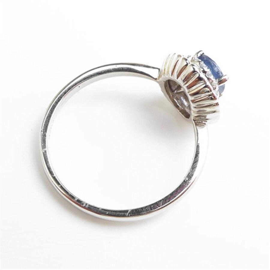 Mode 925 bijoux en argent Sterling bagues pour femmes taille 6.75 véritable naturel bleu gemmes perle de fiançailles bague de mariage - 2
