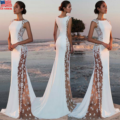 New Fashion Women's Elegant Noble Evening Wedding Bridesmaid Long Dress Lace Stitching Side-transparent Bodycon Slim Dress S-XL