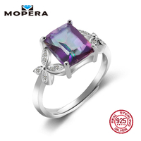 Mopera Rectangle 2ct Fire Rainbow Mystic Quartz Ring Real 925 Sterling Silver Jewelry Brand New Hot