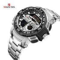 LED à double affichage numérique Zegarek Meski Sport chronographe hommes montres-bracelets homme étanche en acier inoxydable montre à Quartz pour les hommes