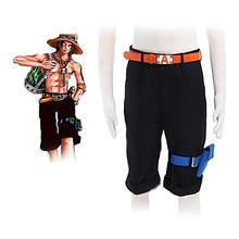 Anime ONE PIECE Cosplay Portgas. D. Ace Cos Nero pantaloni casual Cos  Halloween party 09d5b9500c23