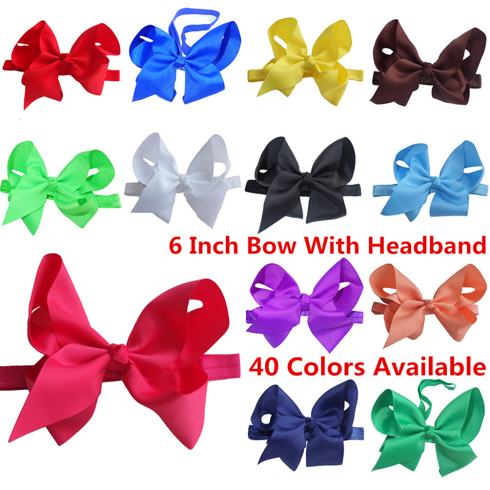 40 Colors Avialable Elastic Headband 6 Inch hair bow WITH headbands Flower Hairband Hair band Hair
