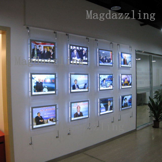 A4 Single Sided Acrylic Frame LED Wall Hanging Display SystemsReal Estate Agent Window
