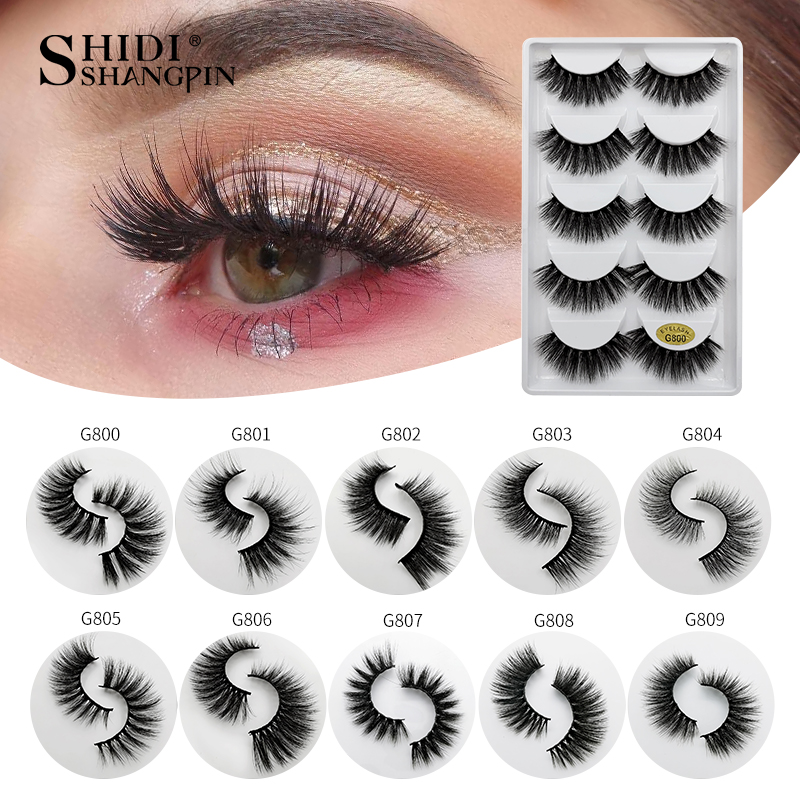 SHIDISHANGPIN 5 Pairs Eyelashes Natural Long 3d Mink Lashes Hand Made Soft Mink Eyelashes Full Strip Lashes Makeup False Eyelash