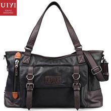 Uiyi clásicos del diseño de marca bolso de los hombres de cuero de la pu bolso de la honda de la taleguilla de mano con cremallera de hombro bolsas de mensajero de negocios masculino 150002901