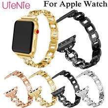 цена luxury crystal band For Apple Watch 40mm 44mm 38mm 42mm smart watch wrist strap for Apple Watch series 4 3 2 1 iWatch bracelet онлайн в 2017 году