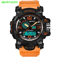 Top Luxury Brand Sanda Men Sport Watches Men S Quartz LED Analog Clock Man Military Waterproof