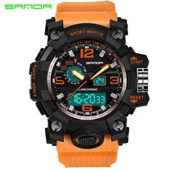 Top Luxury Brand Sanda Men Sport Watches Men's Quartz LED Analog Clock Man Military Waterproof Wrist Watch Relogio Masculino New