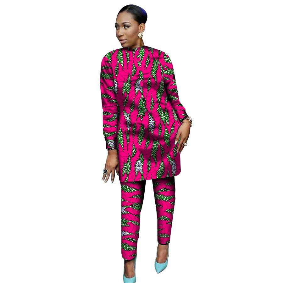 3d27545ce1cd Africana de manga larga Tops y pantalones SetWomen trajes 2 piezas ropa de  las mujeres africanas más tamaño señora partido traje para personalizar