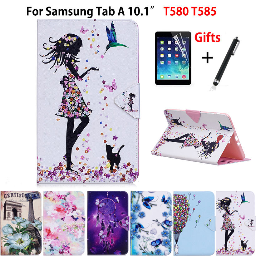 Tablet Case For Samsung Galaxy Tab A A6 10.1 2016 SM-T580 T585 T580 T585N   Smart Cover Funda cartoon PU Leather Skin+Film+Pen case for samsung galaxy tab a 9 7 t550 inch sm t555 tablet pu leather stand flip sm t550 p550 protective skin cover stylus pen