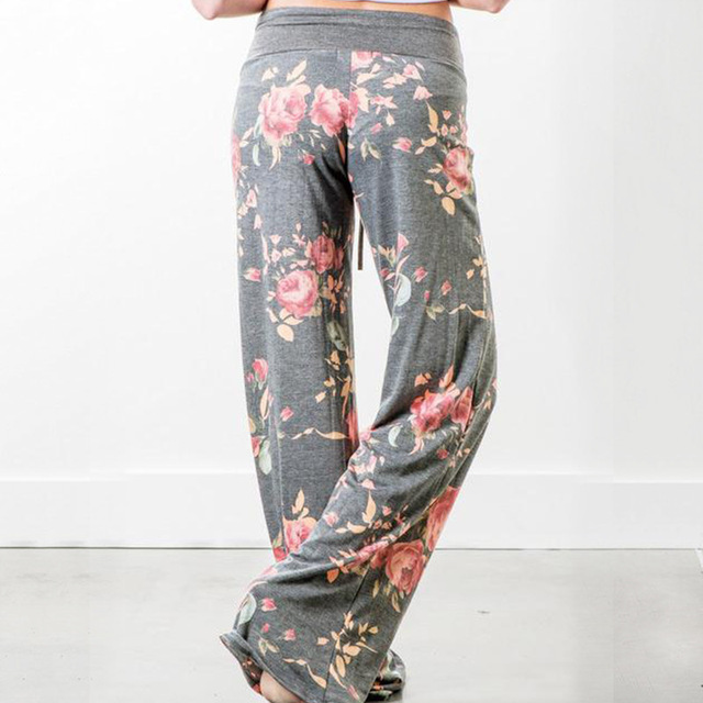 Women Long Pants Loose Floral Print Drawstring Lace Camouflage stripe Wave point Sweatpants 3