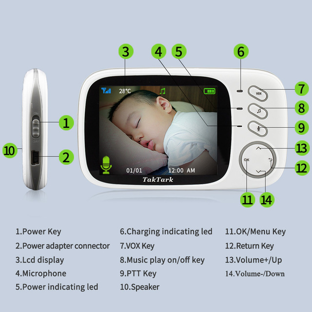 3.2 inch Wireless Video Color Baby Monitor High Resolution Baby Nanny Security Camera  Night Vision Temperature Monitoring 4